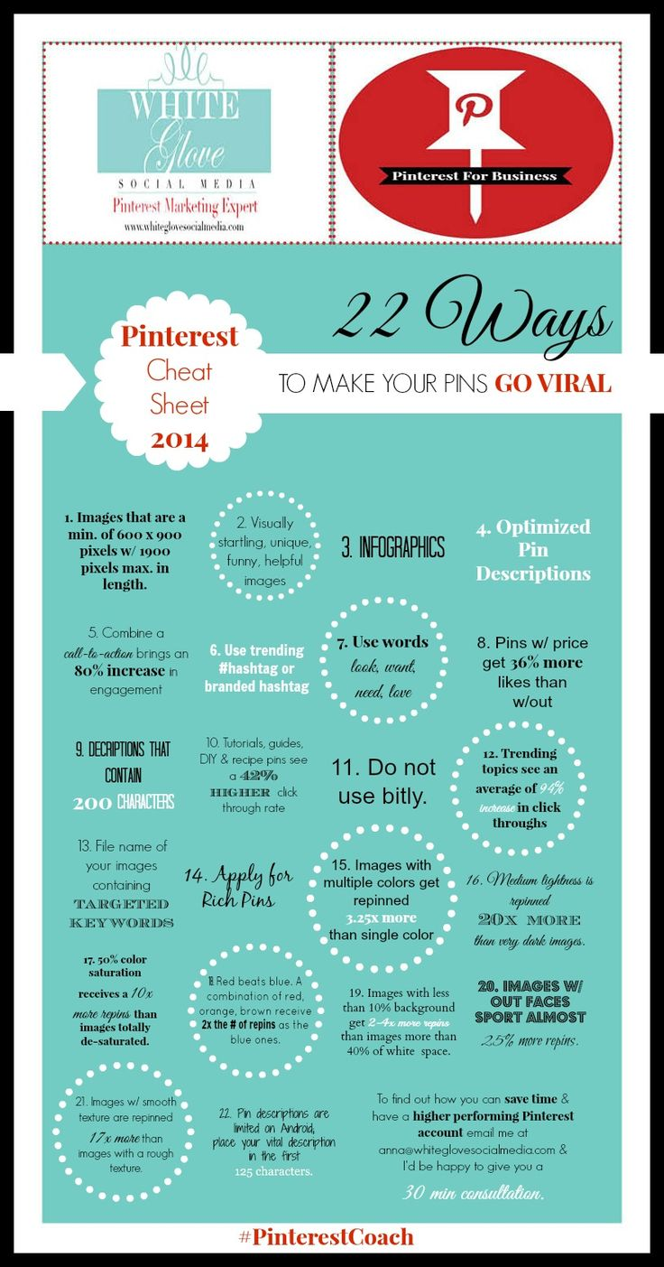 Pinterest Cheat Sheet for 2014: 22 Ways To MAKE YOUR PINS GO VIRAL Based On Research. Go here to read the full article http://www.whiteglovesocialmedia.com/pinterest-consultant-pinterest-cheat-sheet-2014-infographic-22-ways-to-make-your-pins-go-viral-based-on-research/ ✭ #PinterestExpert Anna Bennett ✭