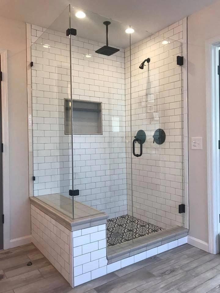 Ideas Bathroom Decor 2 Shower Heads Nice Mosaic Floor Bench Nook Maybe Double Nook Or Corn Restroom Remodel Bathroom Remodel Master Bathroom Remodel Shower
