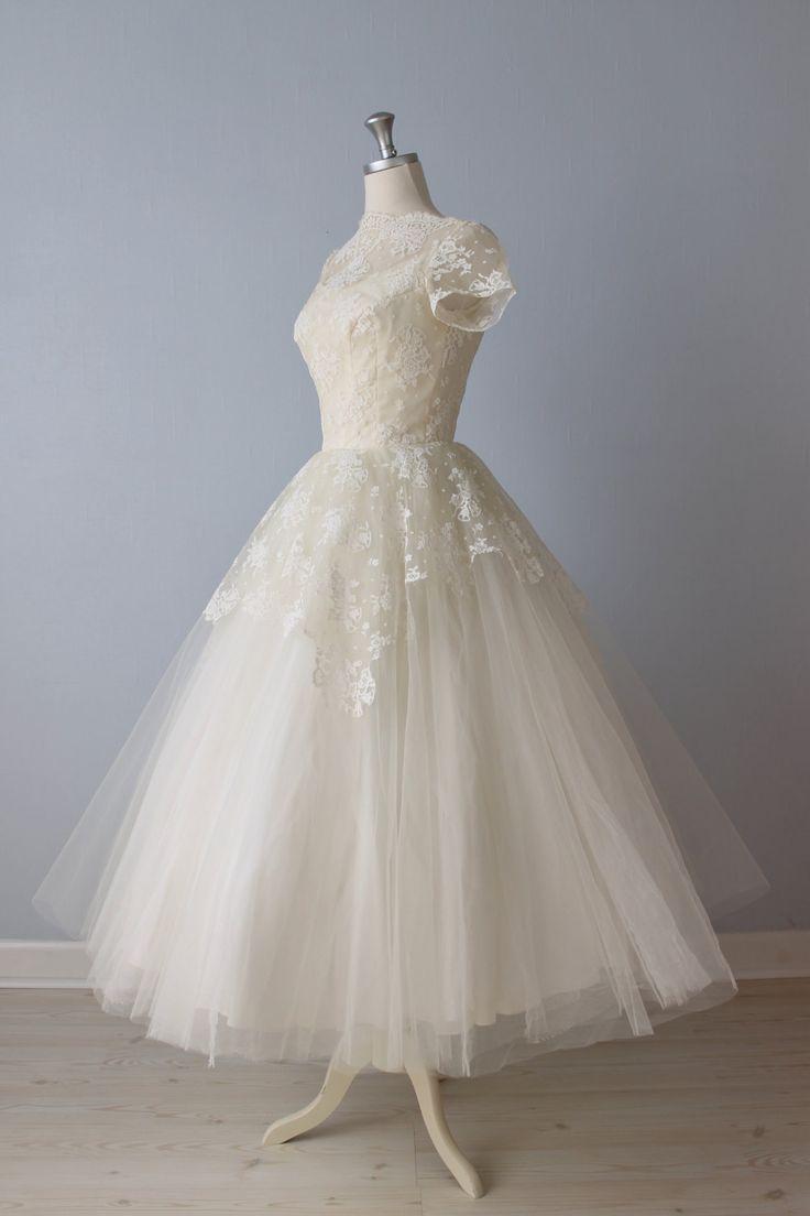 64 best images about vintage tea length wedding dresses on for Vintage t length wedding dresses