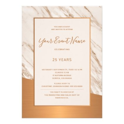 Marble copper formal corporate corporate party card  $1.95  by invitations_kits  - custom gift idea