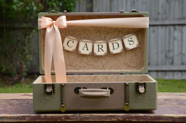 Wedding Card Holder, Vintage Style Suitcase Card Box, Green Suitcase, Peach Wedding. $57.00, via Etsy.