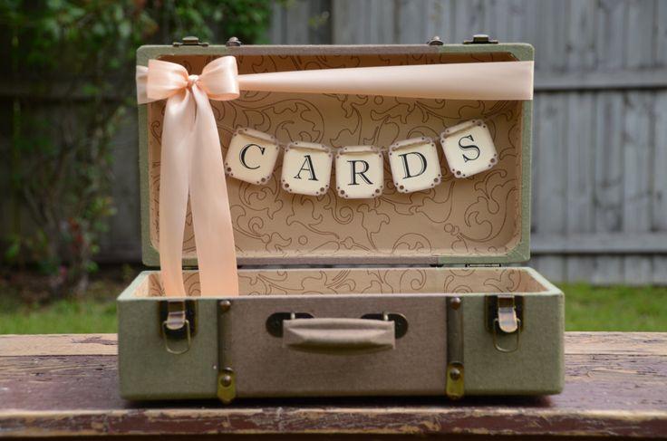 Wedding Card Holder, Vintage Style Suitcase Card Box, Green Suitcase, Peach Wedding. $57.00, via Etsy.