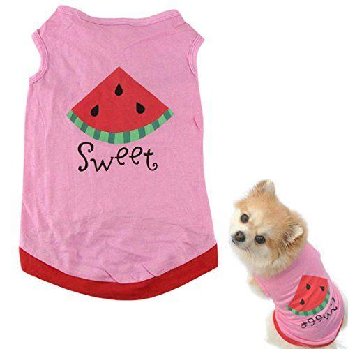 HP95(TM) New Summer Cute Small Pet Dog Puppy Cat Clothes Watermelon Printed Pink Vest (L)