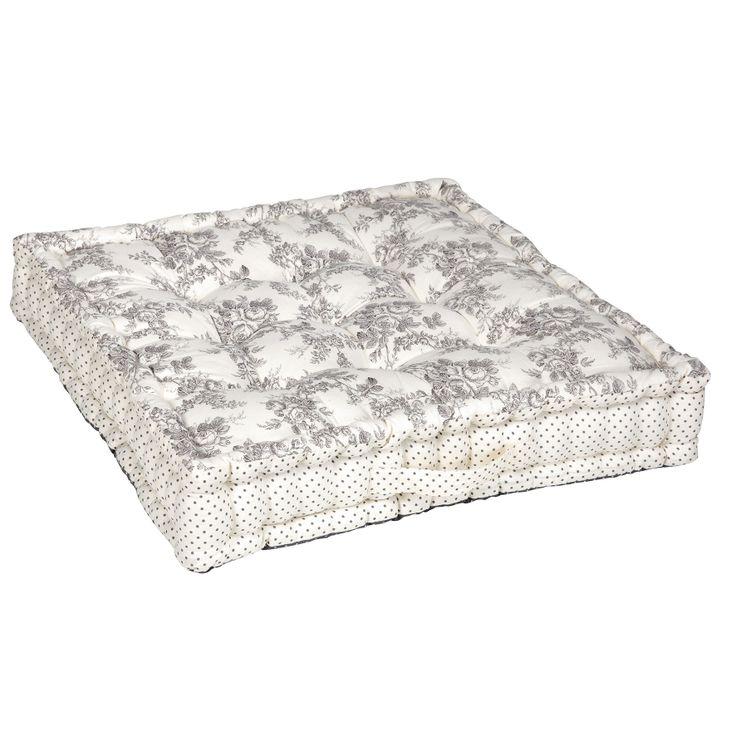 Coussin de sol en coton gris et blanc motifs fleurs ROMANCE Comptoir de famille