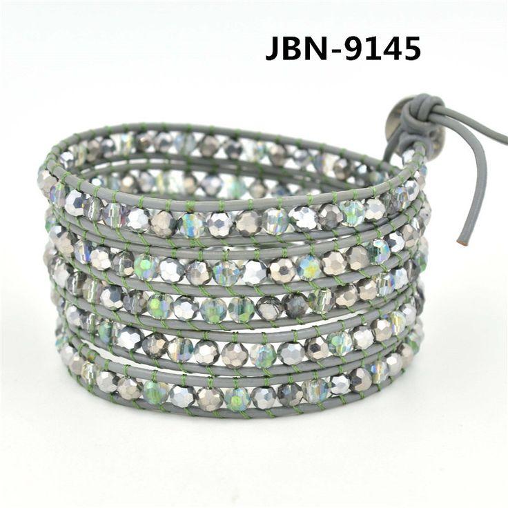 Очарование Кожаный браслет С кристалл браслет из бисера ручной работы браслеты и браслеты для мужчин и женщин подарок JBN-9145