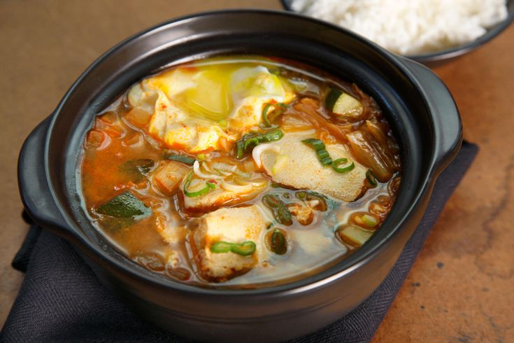 Korean Kimchi Tofu Soup (Soondubu Jjigae) - made it without eggs, with firmer tofu, and with the kimchi liquid from the NYTimes kimchi recipe
