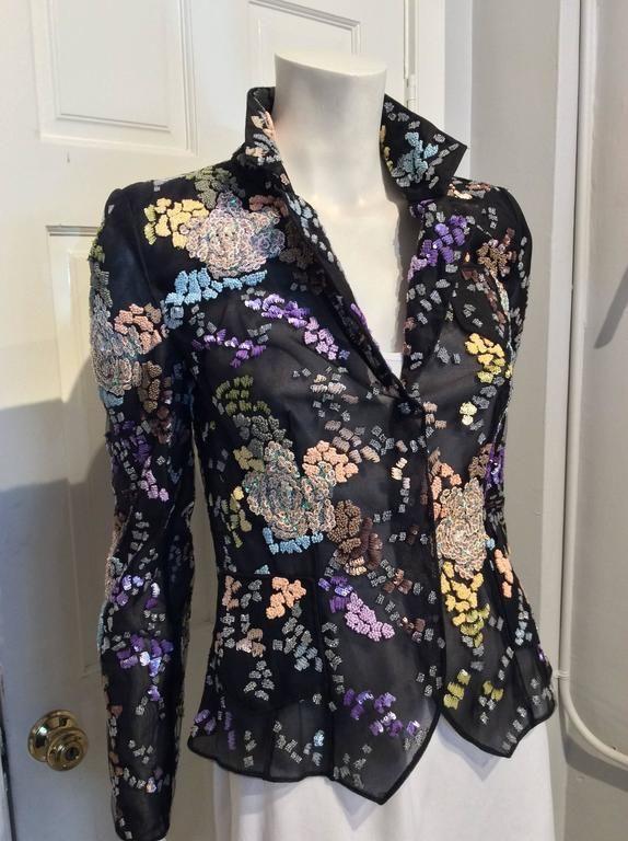 Giorgio Armani Black Mesh Floral Beaded Blazer