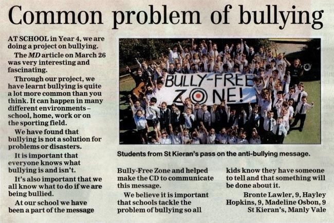 'Common problem of bullying'  (To read article, click on image, and scroll down...)
