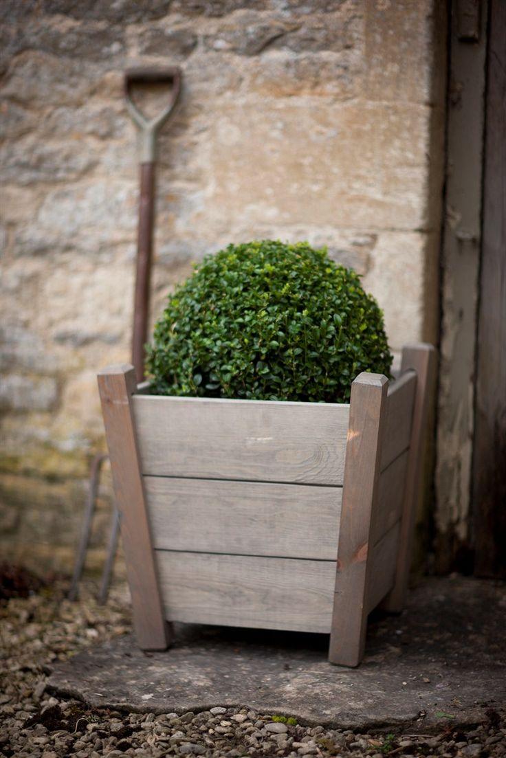 Small Kingham wooden planter at Garden Trading