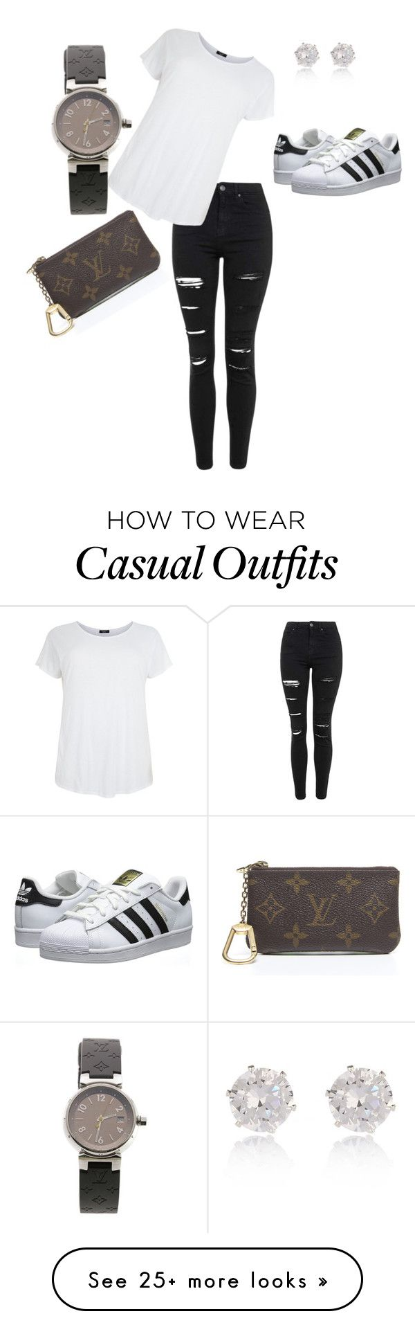 """Casual"" by jennifer-ayoub on Polyvore featuring adidas Originals, Topshop, Louis Vuitton and River Island"