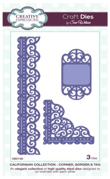 Creative Expressions Craft Dies By Sue Wilson - California Collection - Corner, Border & Tag