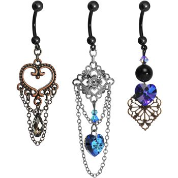 Vintage Fashion Dangle Belly Ring 3 Pack MADE WITH SWAROVSKI ELEMENTS | Body Candy Body Jewelry #bodycandy #piercings #bellyring