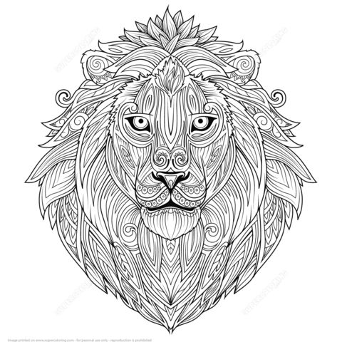 lion ethnic zentangle coloring page zentangles animals birds objects etc pinterest. Black Bedroom Furniture Sets. Home Design Ideas
