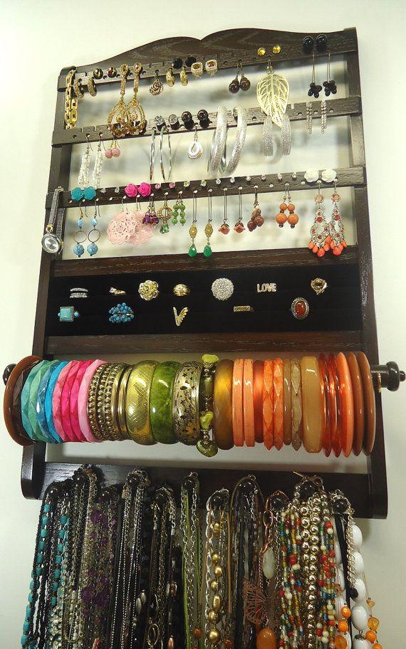 Jewelry Holder, Cocoa, Oak Wood, Deluxe Style, Hanging, Bangle Bracelet Rod, 54-108 Earring Pairs, 11 peg Necklace Holder, Ring Holder