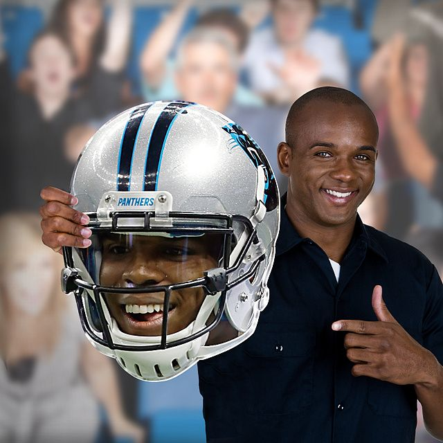 Now you can get your head in the game with your very own cut out of Cam Newton's face. Unlike giant head posters or other player head photos, NFL Big Heads are sturdy and big enough to stand out in any crowd. SHOP http://www.fathead.com/nfl/carolina-panthers/cam-newton-helmet-big-head-cut-out/