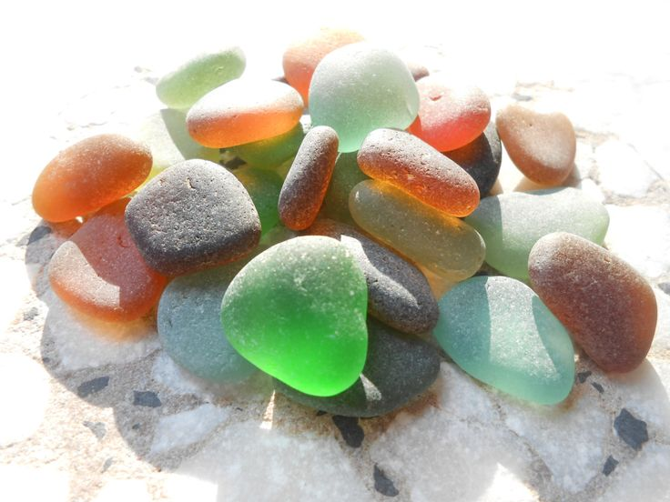Sea glass lot in earthy tones, brown green olive black seaglass, beach glass supply by BeniciaSeaglass on Etsy