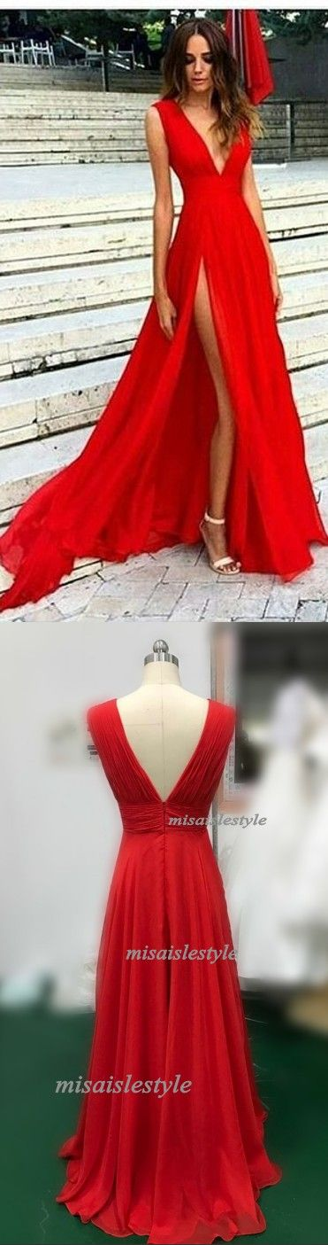Sexy Slit Evening Dress,V-neckline Red Evening Gowns,Split Prom Dresses,Slit Sexy Party Dresses.Red Formal Dress