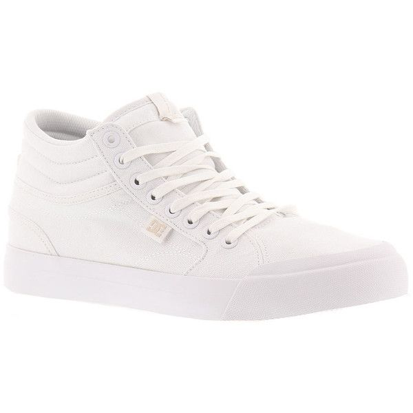 DC Evan HI TX Women's White Skate 6.5 M ($63) ❤ liked on Polyvore featuring shoes, sneakers, white, lacing sneakers, white skate shoes, white lace up sneakers, dc shoes and white trainers