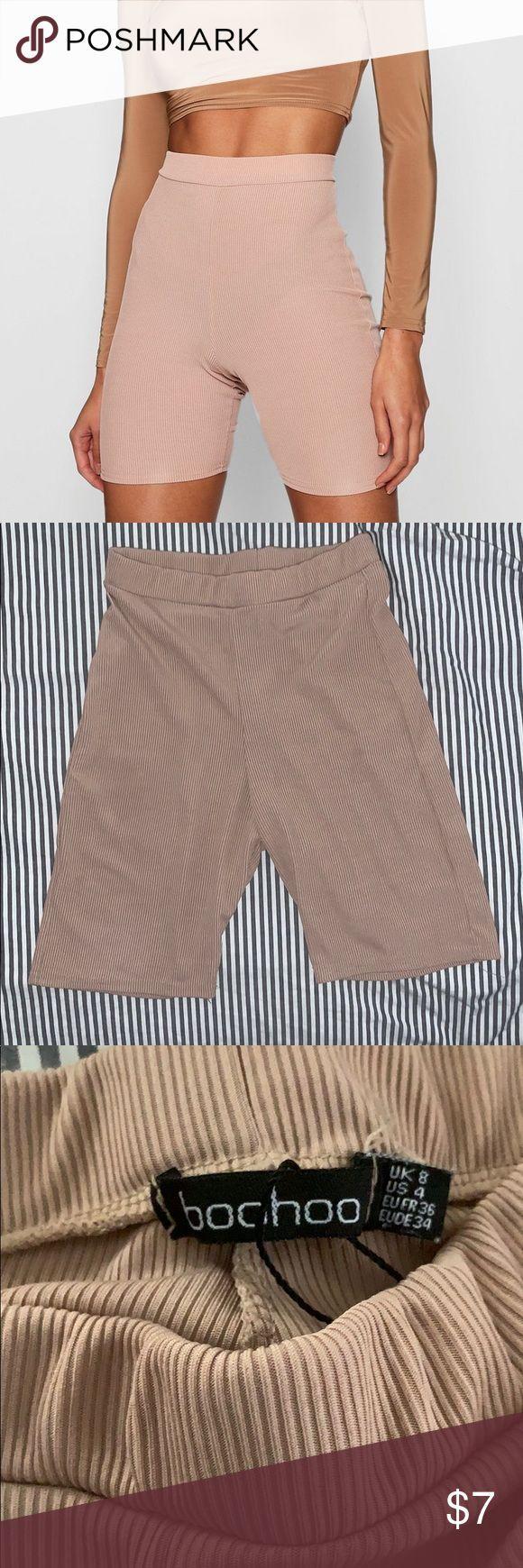 Ribbed tan biker shorts Worn once no holes or stains Boohoo Shorts   - My Posh P...