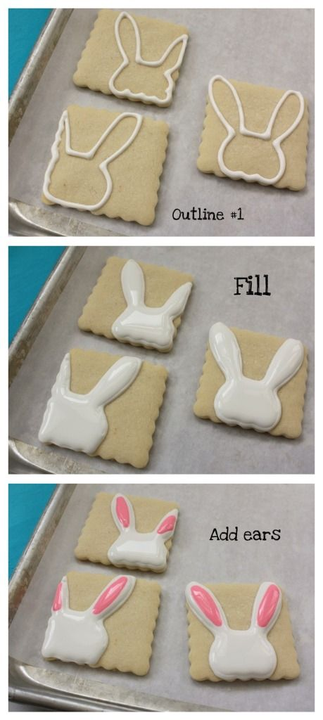 Bunny Cookies ~ a good way to utilize shapes which have thin or flimsy parts that will otherwise break off easily.