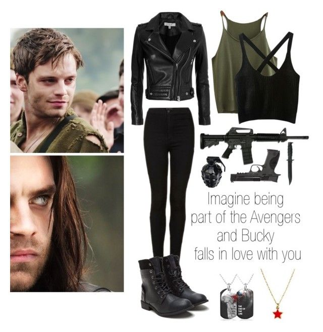 """Imagine being part of the Avengers and Bucky falls in love with you"" by laurianne-lzr on Polyvore featuring art<< awesome work"
