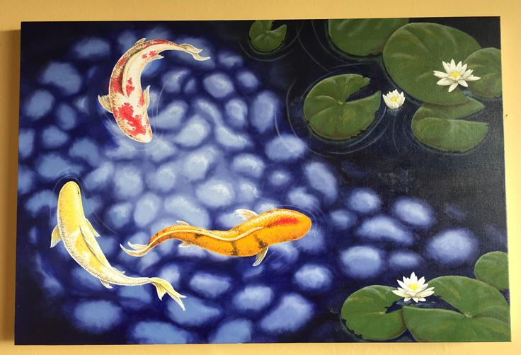Oil painting featuring three vividly coloured koi in a tranquil pond habitat. Lily flowers and pads sit on and around the pond surface.