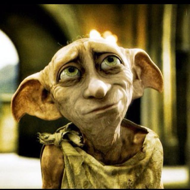 Dobby <3 (House elf from the mind of J.K Rowling)  This almost life like cutie won readers over first in the 2nd installation of the Harry Potter Book Series. Despite his own personal sad fate with a domineering master Lucas Malfoy . Dobby gives unconditional love, strength & protection to Harry Potter & is one charachter that changes the novel because of the light he brings.