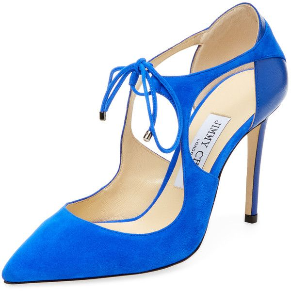 Jimmy Choo Women's Vanessa 100 Suede Pump - Blue, Size 36 ($599) ❤ liked on Polyvore featuring shoes, pumps, blue, suede pointy toe pumps, blue suede shoes, high heel pumps, self tying shoes and blue high heel pumps