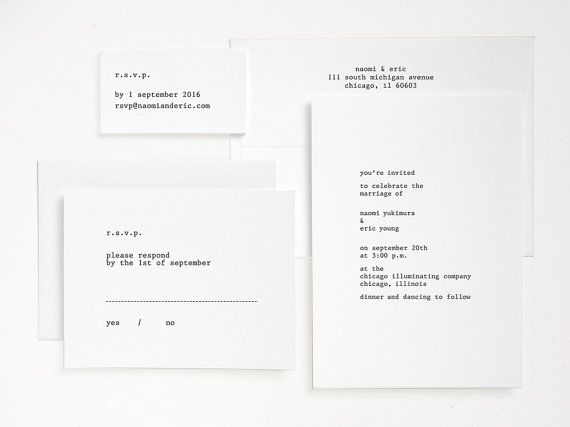 Typewriter Letterpress Wedding Invitation - Hand Printed - Modern Minimal Invite (Sample) - Editor