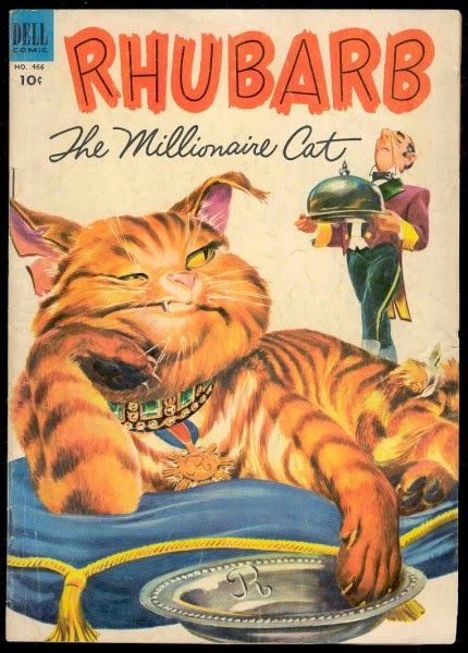 Cat movie - Rhubarb The Millionaire Cat (1951). See more: http://www.traveling-cats.com/2014/09/cat-from-bakersfield-usa.html (movies, movies with cats, cat movies, millionaire cats, cats from the 1950s)