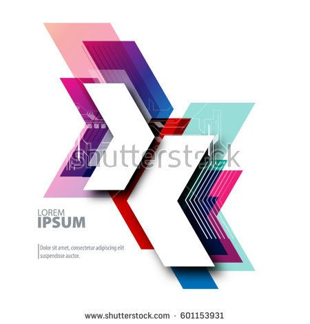 Abstract Template with Clean Minimal Style. Modern Graphic/Design Elements. Arrows in White Background
