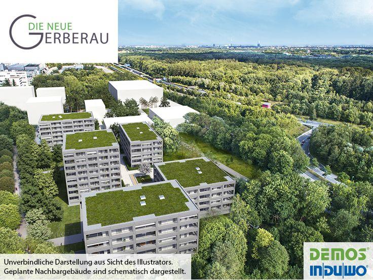 Luftbild -  DIE NEUE GERBERAU #DieNeueGerberau #Allach #München #Illustration #Visualisierung #Architektur #Neubau #Neubauprojekt #Wohnidee #Eigentumswohnungen #Wohnungen #Loggia #Terrasse #Wohnen