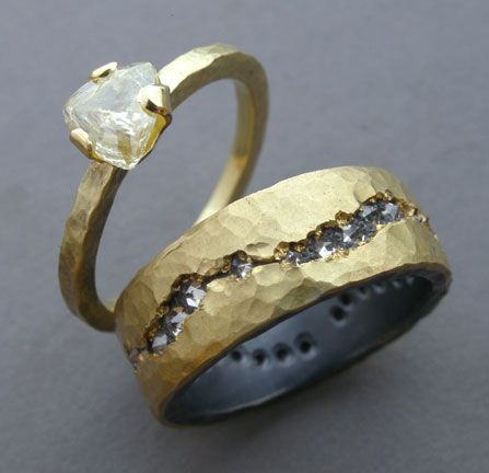 18k gold, uncut diamond/18k gold silver, diamonds