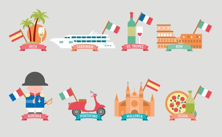 icon set, illustration, sights & cities mediterranean sea