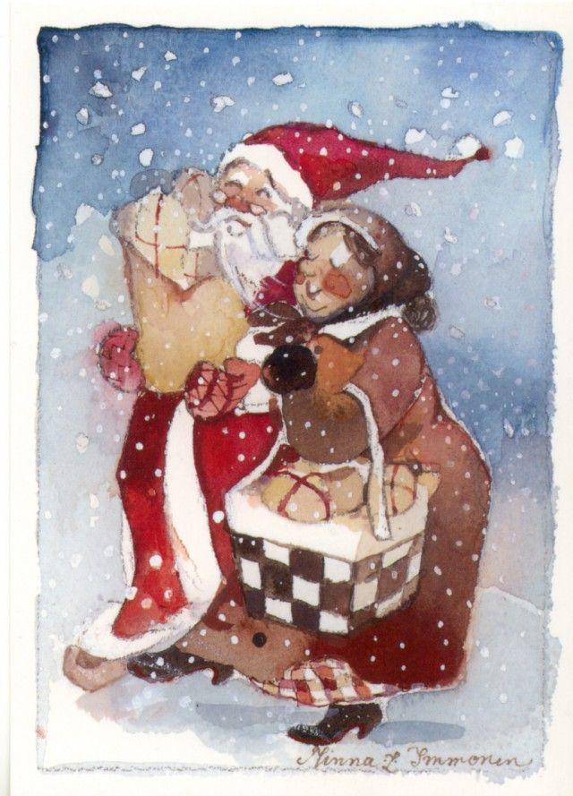 Две девушки, открытка на новый год рисунок красками