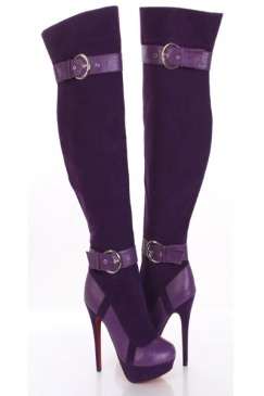 Purple Faux Suede Buckle Accent Round Toe Knee High Platform Heels Boots