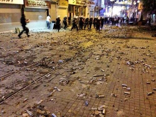 empty shells from gas spray and plastic bullet canisters occupy taksim.
