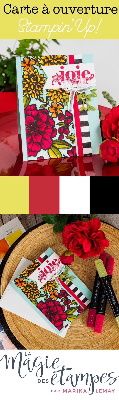 Palette de pétales Stampin' Up! carte coloriée avec les marqueurs Stampin'blends.