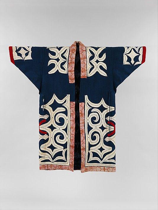 Ainu Robe Period: Meiji period (1868–1912) Culture: Japan Medium: Cotton and wool with applique (kiri-fuse) Classification: Textiles-Costumes