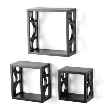 Black Wood Cube Shelves, Set of 3Cubes Shelves, House Ideas, Squares Shelves Decor, Wood Cubes, Black Wood, Cubes Squares, Decor Inspiration, Sets, Circles Cut