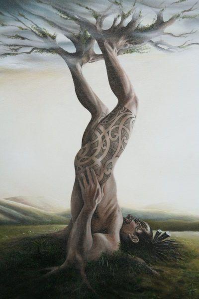 Tane Mahuta's Triumph (close up of painting) - Jane Crisp (2007)