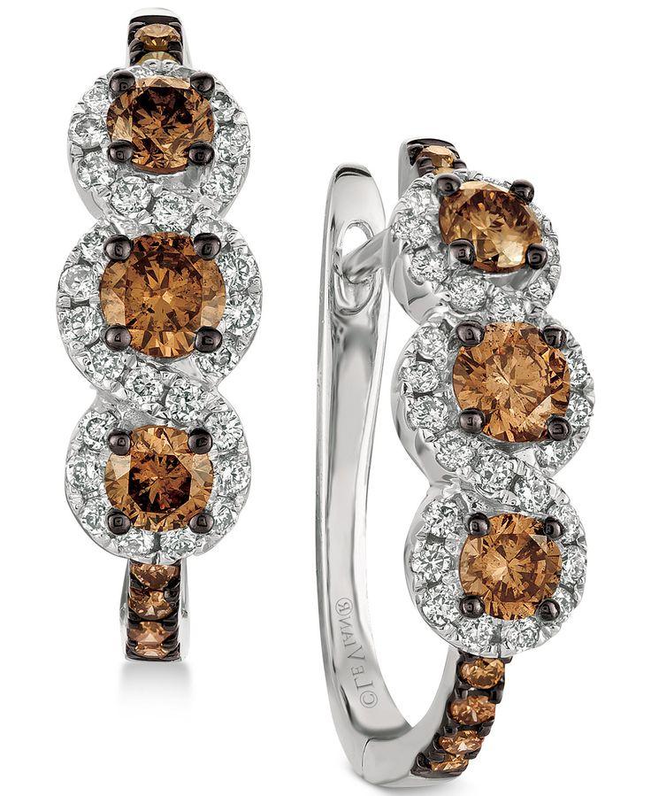 Le Vian LeVian Chocolate Diamonds 7/8 ct tw Earrings 14K Vanilla Gold c4Rzqs6