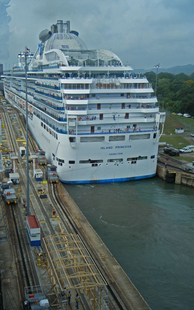 Island Princess passing through Panama Canal lock.