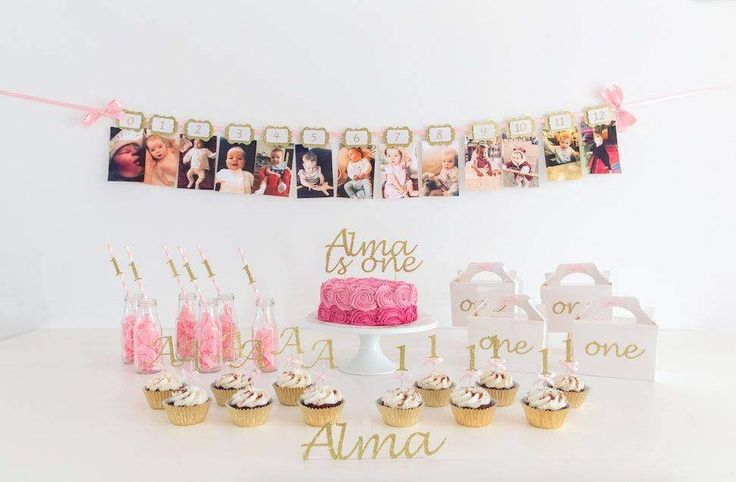 Pink and Gold First Birthday Party Pack. 1st birthday. 12 Months Banner. Cake Topper. Cupcake. Straws. Party favour. Box. Straws. One. Girl. by InspiredbyAlma on Etsy