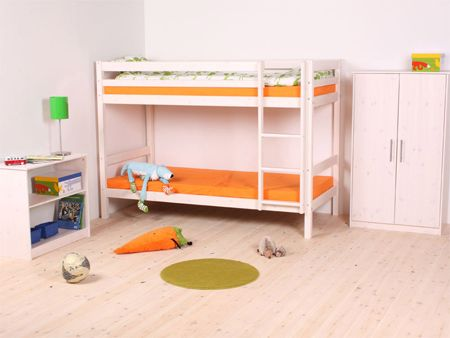 Available In Natural Or Whitewash Finish This Fixed Bunk Bed From Thuka Is Great For Kids Of All Ages Its A Full Size Accessible Via The Ladder