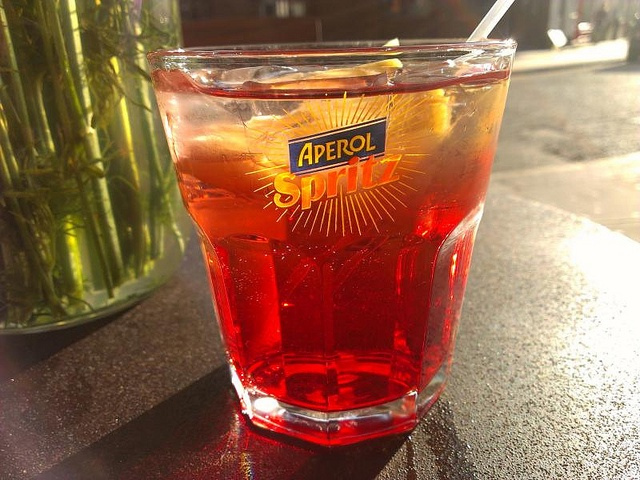 I was talking about this tonight with a fellow translator: the Aperol spritz, one of the most famous Italian cocktails for the #aperitivo. So here is a picture of it! Not too strong and really refreshing. Aperitivo time! :) #Italian