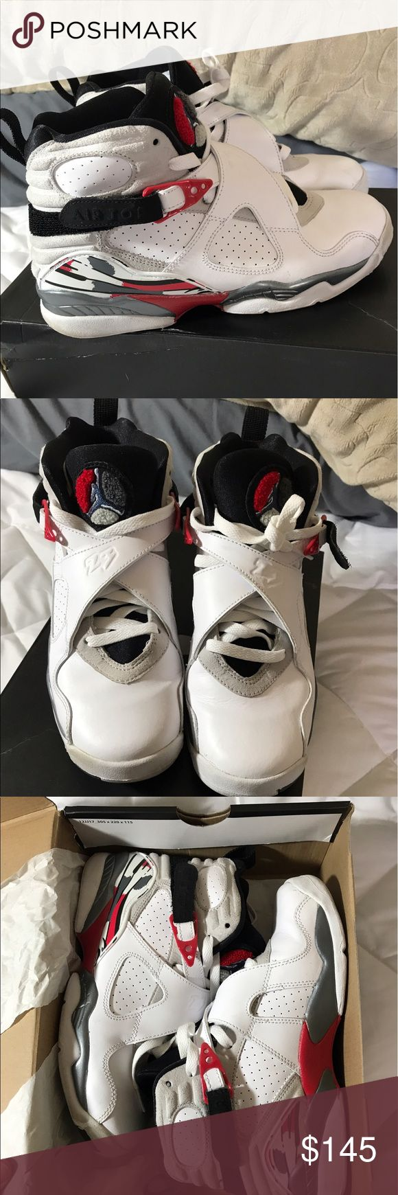 Air Jordan Retro 8 Bugs Bunny These are pretty hard to find, the bugs bunny edition. All the Jordan's I'm selling were gifted to me and I never wore them. Not really my style.. So I'm selling them Size 6 youth. I usually wear a 7.5 women's and these fit just the same maybe a tiny bit more snug. so I'm listing as size 7 even though it is kids 6. It fits like a 7-7.5 Womens. Jordan Shoes Sneakers