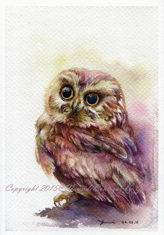 "IMPRESSION – le hibou aquarelle 7,5 x 11""                                                                                                                                                                                 Plus                                                                                                                                                                                 Plus"