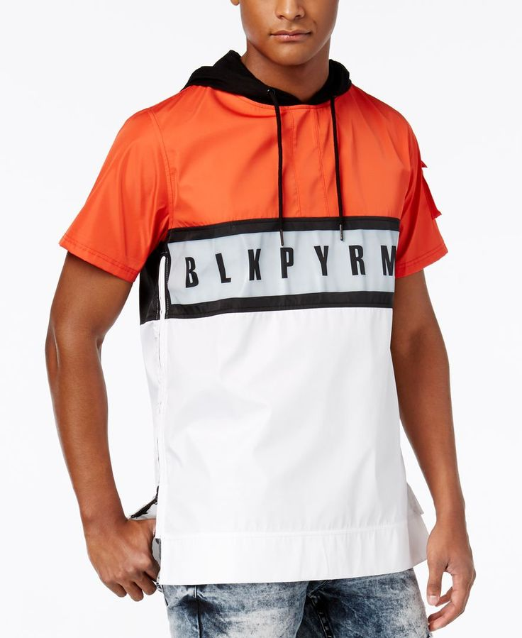Colorblocked styling brings bold appeal to the Tech hoodie from Black Pyramid. | Cotton | Machine washable | Imported | Attached hood with drawstring closure | Short sleeves | High-low effect in back