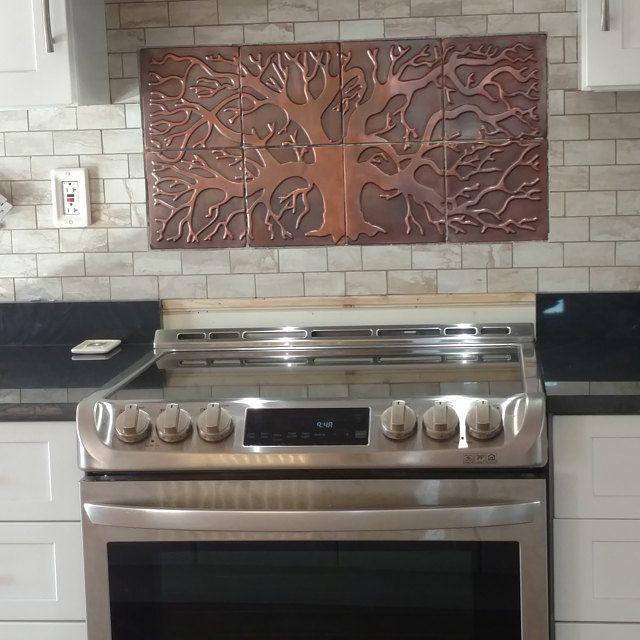 Handmade Tiles Tree Of Life Copper Tiles Set Of 4 Tiles Etsy Copper Decor Outdoor Kitchen Copper Kitchen Backsplash